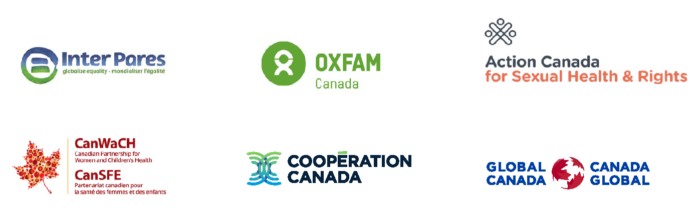 Six Organizational Logos of InterPares, Oxfam, Action Canada, CanWach, Cooperation Canada and Global Canada