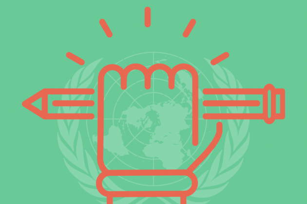 A fist holding a pencil in front of the United Nations logo.