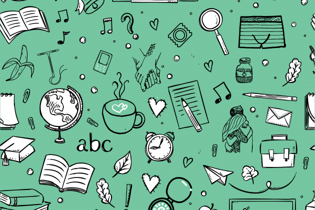 Green wallpaper with doodles representing school, sexual health, and relationships