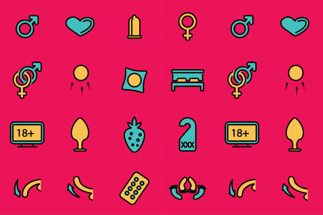 illustrations of icons that represent sexual health
