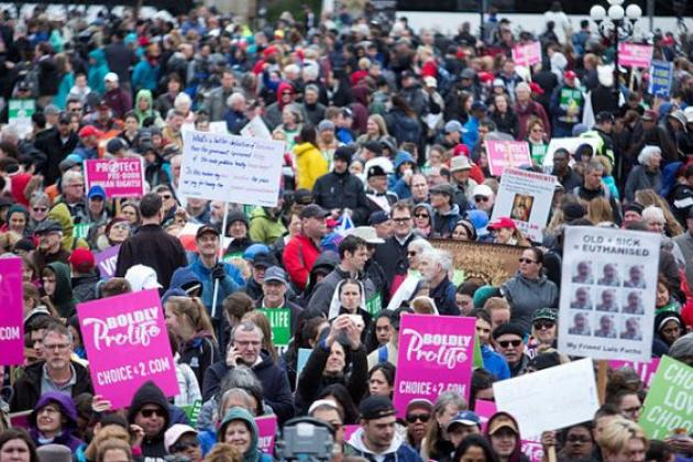 Anti-abortion advocates march on Parliament Hill to protest access to abortion.
