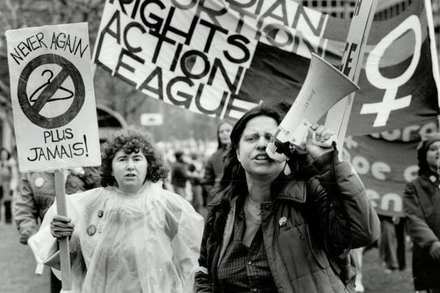 Protesters demand abortions rights in the 1980s