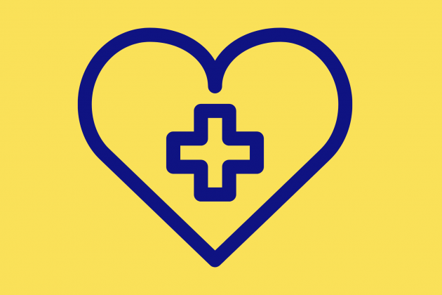 Heart with a health cross in the middle on yellow background