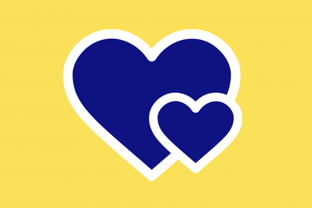 2 hearts on yellow background