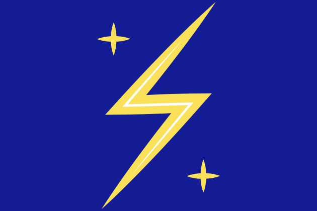 lighting bolt and stars on blue background
