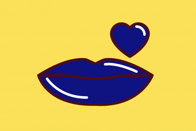 Lips and heart on yellow background