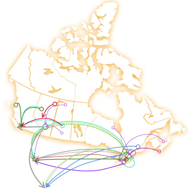 A map of canada showing the distances that women need to travel for access to abortion services.